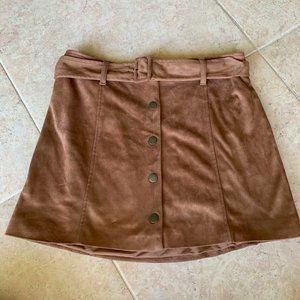 Forever 21 Brown Suede Mini Skirt Size Large L